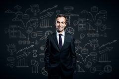 Man on business sketch background Stock Photo
