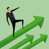 Man business standing arrows growth. Vector illustration eps 10 Royalty Free Stock Photography