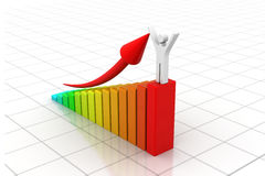 Man with business statistic graph. 3d render of Man with business statistic graph Royalty Free Stock Photography