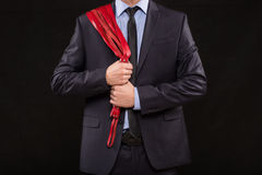 Man in business suit with chained hands. handcuffs Stock Photos