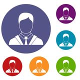 Man in business suit icons set. In flat circle reb, blue and green color for web Stock Photos