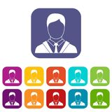 Man in business suit icons set. Vector illustration in flat style in colors red, blue, green, and other Royalty Free Stock Photography