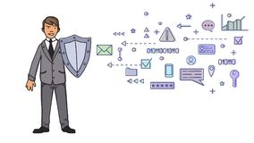 Man in business suit protecting himself with a shield from digital and network symbols. Personal data protection. GDPR. Man in business suit protecting himself Royalty Free Stock Photo