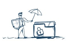 Man in business suit shield hold umbrella folder padlock General Data Protection Regulation GDPR server security guard. Over white background hand drawn vector Royalty Free Stock Photos