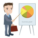 Man in a business suit shows on the board with chart Royalty Free Stock Images