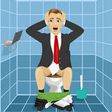 Man in business suit sitting on toilet seat upset and shocked noticing that roll without paper Stock Photography