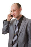 man in business suit talking on phone Stock Photo
