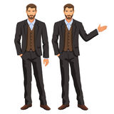 Man in business suit with vest. Bearded guy, gesturing. Royalty Free Stock Images