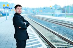 Man on business trip Royalty Free Stock Photos