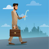 Man business walk stree city with paper and suitcase Royalty Free Stock Image