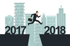 Man businessman jumps from 2017 to 2018 on background city. Vector illustration flat design. Big numbers. Forward to future Royalty Free Stock Image
