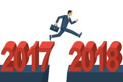 Man businessman jumps from 2017 to 2018. Vector illustration flat design. Isolated on white background. Big numbers. Forward to future Royalty Free Stock Images