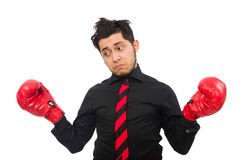 The man businessman with red boxing gloves Stock Photo