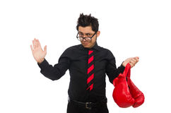 The man businessman with red boxing gloves Royalty Free Stock Photo