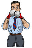 A man is a businessman in a shirt and tie, is engaged in boxing Stock Photo