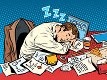 Man businessman sleeping on the job royalty free illustration