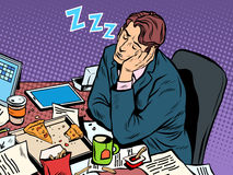Man businessman sleeping on the job. Pop art retro style. Hard work. Later in the meeting. Businessman at work vector illustration