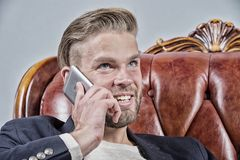 Man or businessman smile and talk on mobile phone Royalty Free Stock Images