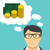 Man Businessman Thinks about Money. Flat Business Concept Vector Illustration. EPS10 Stock Images