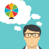 Man Businessman Thinks about Wheel of Fortune, Lucky Icon. Vector Illustration. EPS10 Stock Image