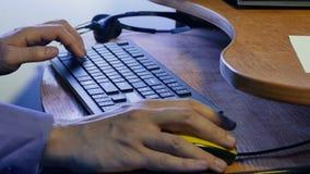 Man businessman typing on keyboard works at technologies computer. Man  businessman typing on keyboard works at technologies computer stock video footage