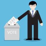 Man businessman votes, throwing into box bulletin. Political referendum, voting and government, ballot paper, polling bulletin, insert document. Vector Royalty Free Stock Images