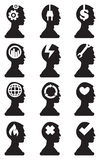 Man Bust Silhouette with Conceptual Symbols in Brain Vector Icon Stock Images