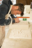 Man Busy Detailing a Plaster 3D Model City Map Stock Photos