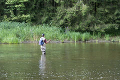Man busy with flyfishing. In the belgium river semois ner the place auby sur semois Stock Photo