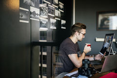 Man Busy Photographer Editing Home Office Concept Royalty Free Stock Photos