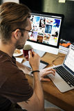 Man Busy Photographer Editing Home Office Concept royalty free stock photo