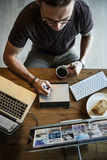 Man Busy Photographer Editing Home Office Concept stock image