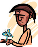 Man with butterfly illustration. Illustrations of Pensive Man Looking at Beautiful Butterfly on his Hand Stock Images