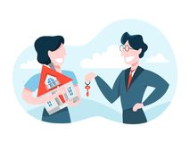 Man buy house. Real estate agent holding key. From the property. Deal betweeen realtor and customer. Vector illustration in cartoon style royalty free illustration