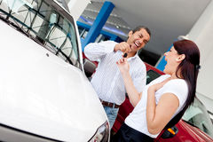 Man buying car to his wife Stock Photography