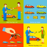 Man buying a car, Woman buying a car, Online car Royalty Free Stock Photography