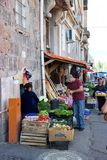 Man buying fruits and vegetables on street in Tbilisi, Georgia Royalty Free Stock Photo