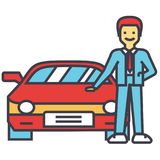 Man buying new car, auto dealer, vehicle dealership, automobile sale, sell transport, agent, salesman concept. Line vector icon. Editable stroke. Flat linear Stock Images