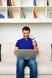 Man buying something in internet Royalty Free Stock Images