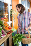 Man buying vegetables in organic shop Royalty Free Stock Photography