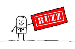 Man & BUZZ. Hand drawn characters Stock Image