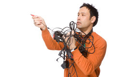 Man with cables Royalty Free Stock Image