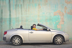 Man in a cabrio Stock Photography