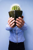 Man with cactus. Man proudly presenting his young growing cactus Royalty Free Stock Photo