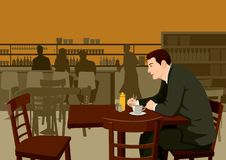 Man at the cafe. Stock illustration of a man waiting at the cafe Royalty Free Stock Photos