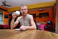 Man in the cafe Stock Photo