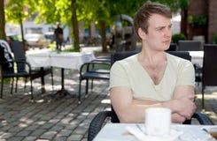 Man cafe spring stock image