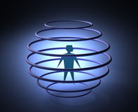 Man in cage. 3d abstract of a prisoner Stock Photo