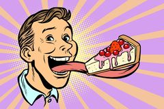 Man with a cake in a long tongue vector illustration