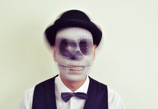 Man with calaveras makeup in motion Stock Images